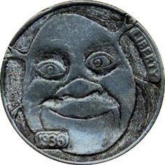 JAMES OLIVENCIA HOBO NICKEL - SHREK - 1936 BUFFALO NICKEL Hobo Nickel, Shrek, Buffalo, Coins, Carving, Art, Art Background, Rooms, Wood Carvings