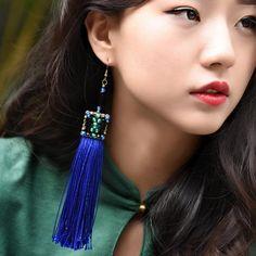 New Arrival Royal Blue Vintage Tassel Earrings Chinese Agate Ear Pendants    #blue #Chinese #agate #earring #vintage #elegant #jewelry #fringes #accessories
