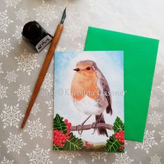 """Christmas Card """"Robin with Holly Berries"""", blank inside Banana Print, Holly Berries, Christmas Sale, All Design, Robin, Christmas Cards, Original Paintings, Greeting Cards, Handmade Gifts"""