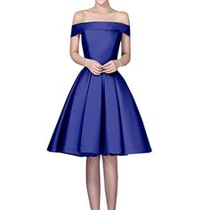 Sue&Joe Women's Fit and Flare Dress Satin Off the Shoulde…