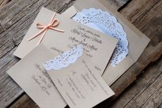 Ribbon and Lace Wedding Invitations - Custom ...