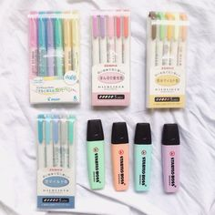 "kiimbapnotes: ""ig : kiimbapnotes // i love highlighters hahaha what's your essential in your pencil case? """