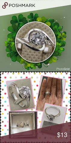 Elegant size4.5 white gold filled CZ ring Brand new in box Jewelry Rings