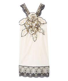 Look at this #zulilyfind! Ivory & Black Rosette Shift Dress - Infant, Toddler & Girls #zulilyfinds