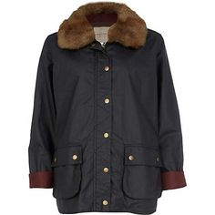 cozy and beautiful. navy waxed faux fur collar jacket by river island