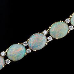 Mid- 20th Century Cartier Opal and Diamond Bracelet