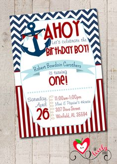 Nautical Birthday Boy Party, Nautical First Birthday Invite, DIY Printable Nautical Invitation by thelovelyapple on Etsy https://www.etsy.com/listing/185593486/nautical-birthday-boy-party-nautical