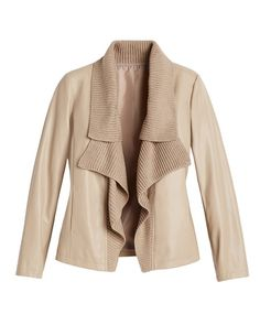 Chico's Faux Leather Sweater Mix Jacket LOVE CHICOS #chicossweeps