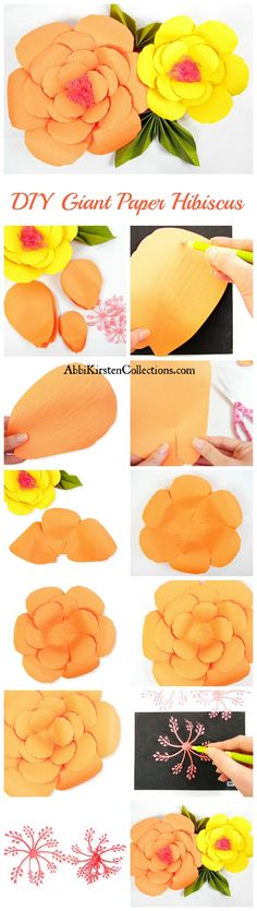 Summertime Giant Hibiscus Paper Flowers. Free Printable Flower Templates. DIY Large Paper Flowers