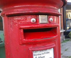 Happiest Post Box Ever.  Googly eyes really do make everything better.