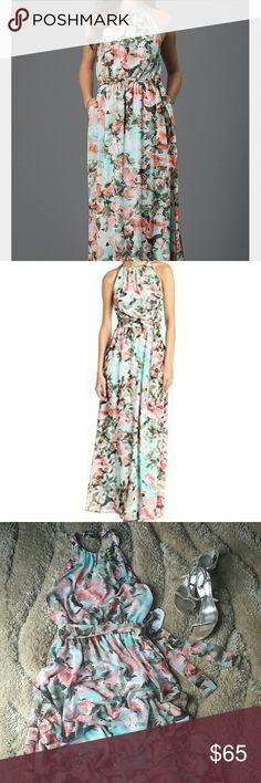 """🆕 Stunning Jessica Simpson Maxi Gorgeous floral, halter-neck maxi dress from Jessica Simpson. Allover floral print, chifon fabric, comes with 2 pockets, self tie belt, and snap closure at the back of neck. Fully lined. Shell and lining 100% Polyester. Approx.measurements: bust unstretched 32"""", stretched up to 36"""". Waist unstretched 24"""", stretched up to 32"""", lenght from waist to hem 44"""". Jessica Simpson Dresses Maxi"""