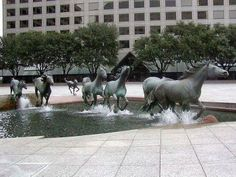 A water fountain creating the illusion of movement.
