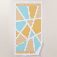 #modern - #Color Block Abstract Blue/Gold ID410 Beach Towel