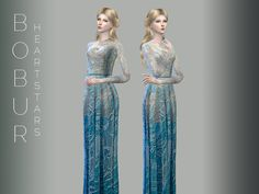 The Sims Resource: Bobur heart stars gown by Devirose • Sims 4 Downloads