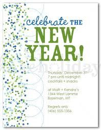 a border of tiny blue and green confetti with modern polka dot circles forms the basis for this modern new years party invitation