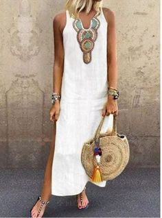 FloryDay / Solid Tunic V-Neckline Maxi Shift Dress Best Summer Dresses, Summer Outfits, Outfits Damen, Sequin Party Dress, Fashion Outfits, Womens Fashion, Dress Fashion, Latest Fashion, Fashion Online