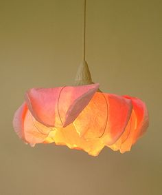 :::: sachie muramatsu :::: This pinkish orange pendant lamp glows like a Padparadsha lotus and is just as beautiful. A pleasure to look at!