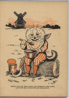 "Louis Wain, in ""FAVORITE PETS"" Timcat is enjoying his breakfast"