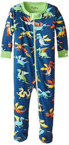 Hatley Baby-Boys' Footed Coverall Dragons, Blue, 3-6 Months Hatley