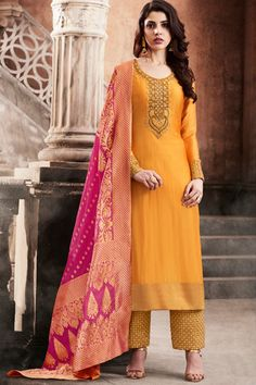 Orange Color Slub Silk Fabric Gorgeous Embroidery Work Attractive Indian Bride Wedding Wear Fancy Look Straight Cut Salwar Suit #nakkashi #esteemcollection #traditionalwear #designercollection #partyweardress #indianwomenfashion #salwarkameez #pantstylsuit #indianbride #indianbrideoutfits #silkfabric #partyweardress #weddingseason #usa #australia #kenya #uk #france #germany