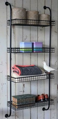 The Withington Wall Mounted Storage Unit industrial-wall-shelves Craft Storage Ideas For Small Spaces, Creative Storage, Diy Storage, Bathroom Storage, Bathroom Ideas, Ada Bathroom, Family Bathroom, Simple Bathroom, Storage Rack