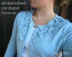DIY Clothes DIY Refashion  DIY embellished cardigan