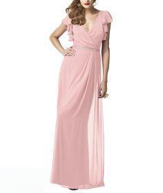 DescriptionDessy Collection Style 2874Full length bridesmaid dressVneckline with ruffle cap sleeveMatching belt at natural waistLux chiffon