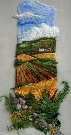This is an amazing idea for year 12 for a mtp - 3 dimensionalFern Hill von Roslyn Source byFern Hill love the dimension of the foregroundLook at the textile art our group members have created, and where our next exhibitions will be. Learn about the tutors Textile Fiber Art, Textile Artists, Fine Art Textiles, Fiber Art Quilts, Weaving Art, Tapestry Weaving, Fabric Art, Fabric Crafts, Fabric Painting