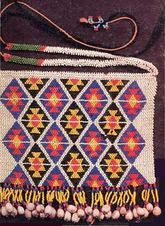 Detail of a Zulu beadwork apron from the Nongoma district of Kwa-Zulu Natal, South Africa.
