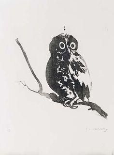 Brett Whiteley Australia - Startled Owl Aquatint, 76 x 56 cm Australian Painting, Australian Birds, Australian Artists, Art Diary, Mixed Media Canvas, Magazine Art, Art Auction, Art Market, Great Artists