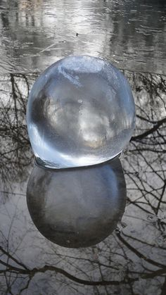 Frozen Spheres into the river