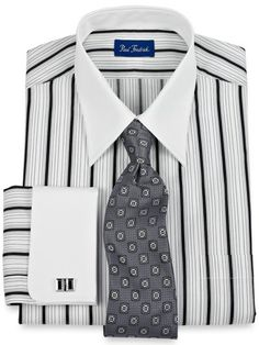 Black & White Raised Satin Stripes White Collar & French Cuffs Dress Shirt from Paul Fredrick Shirt Tie Combo, Dress Shirt And Tie, Mens Fashion 2018, Mens Fashion Suits, Mens Style Looks, Men's Style, Cool Shirts, Casual Shirts, French Cuff Dress Shirts
