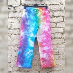 Rainbow Tie Dye Pants Hippie Trousers to fit UK size 10 Petite or US size 6 Petite Gift Ideas Gay Pride Clothing LGBT Gifts trippy clothes by AbiDashery on Etsy
