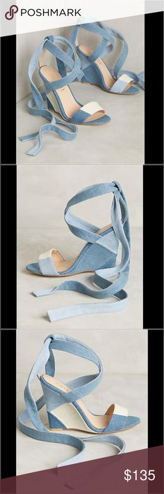 """Anthropologie Denim Wedges! Billy Ella Parry Wedges Fits true to size Tie closure Cotton denim upper Leather insole, 4.1"""" heel Made in Brazil Anthropologie Shoes Wedges"""