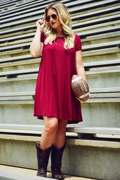 Tailgate Time Dress: Garnet
