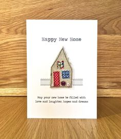 Custom made to order, beautiful handmade moving home cards and gifts, some featuring products from my sister site Map Mojo. New Home Cards, House Of Cards, Personalised Gifts Handmade, Happy New Home, Moving Home, Fabric Cards, Hopes And Dreams, New Love, I Card