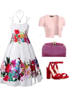 A plus size spring floral outfit inspiration. A garden party inspired outfit inspiration. Curvy Fashion, Plus Size Fashion, Fashion Models, Fashion Looks, Fashion Outfits, Ootd Fashion, Floral Dress Outfits, White Floral Dress, Spring Ootd
