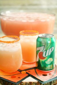Looking for a themed drink for the Big Basketball Game? Check out 'The Courtside Punch', which is the perfect delicious and refreshing drink for the Big Game! With 7UP® and only 3 other ingredients (all available at Walmart!) #JustAdd7UP #ad