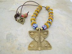 KROBO AFRICAN JEWELRY | African Krobo Beads with Brass Pendant