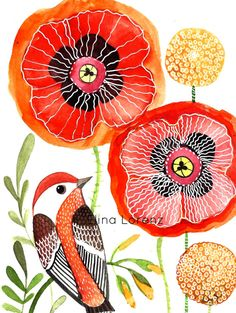 Red Bird with Red Poppies Original painting for by sublimecolors, $39.99