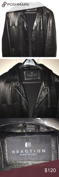 ⭐️⭐️DROPPING PRICE UNTIL SUNDAY 12PM EST ONLY!!! Kenneth Cole very soft Leather jacket.  Size medium runs big.    ❌ No trades. Kenneth Cole Reaction Jackets & Coats Pea Coats