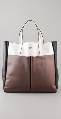 Anya Hindmarch Nevis Tri Color Leather Tote