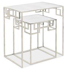 Fanning Hollywood Regency Nickel Antique Mirror Nesting Side Tables - Set of 2