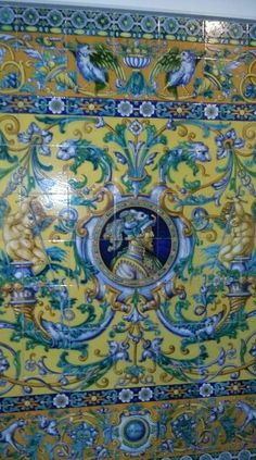 Zócalo de azulejos de cerámica de Triana. Sevilla Tile Murals, Tiles, Porcelain, Pottery, Patio, Traditional, Ornaments, Rugs, Painting