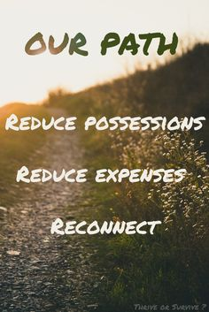 Our path: Reduce possessions, reduce expenses, reconnect. After spending unfulfilling years immersed in consumer routines, we are excited to take our first steps to simplify our lives. Follow along on our journey at www.thriveorsurvive.us