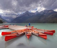 Red Canoes at Banff National Park