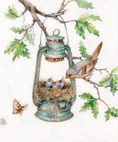 Керосиновая лампа Зарянка птенцы гнездо ветка дуба
