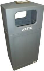 Commercial Outdoor 39 Gallon Trash Can with Ashtray - Grey Enclosure