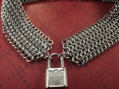 BDSM Slave Collar Choker Necklace Chainmaille by aislinnscollared