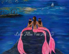 "Mermaid Art Print Mermaids Mermaid Decor Mermaid Wall Art Three Mermaid Sister Fireworks ""Sea- Sational Girls"" Leslie Allen Fine Art"